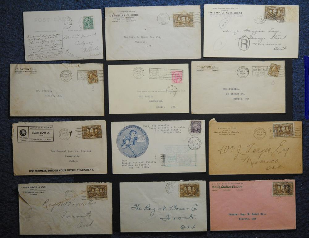 Canada 12 Stamp, Letters and Postcards Collection