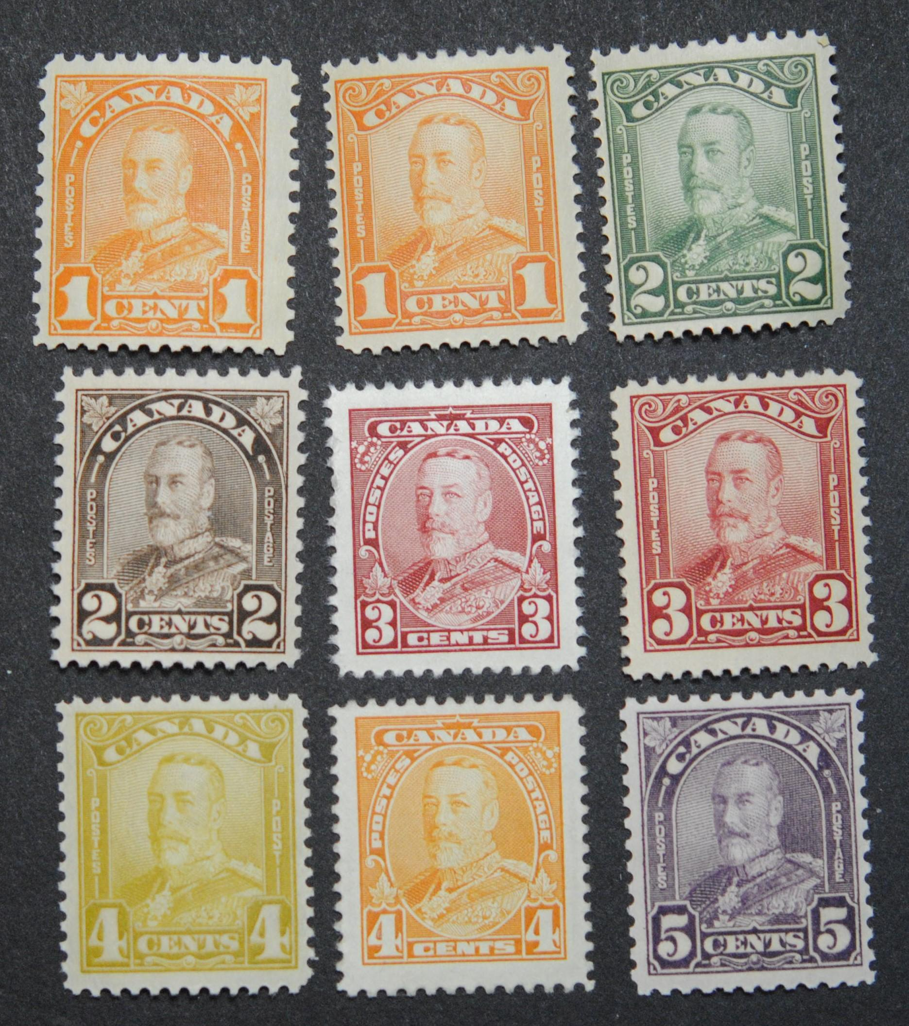 Canada Stamp Collection of 9 George V MNH