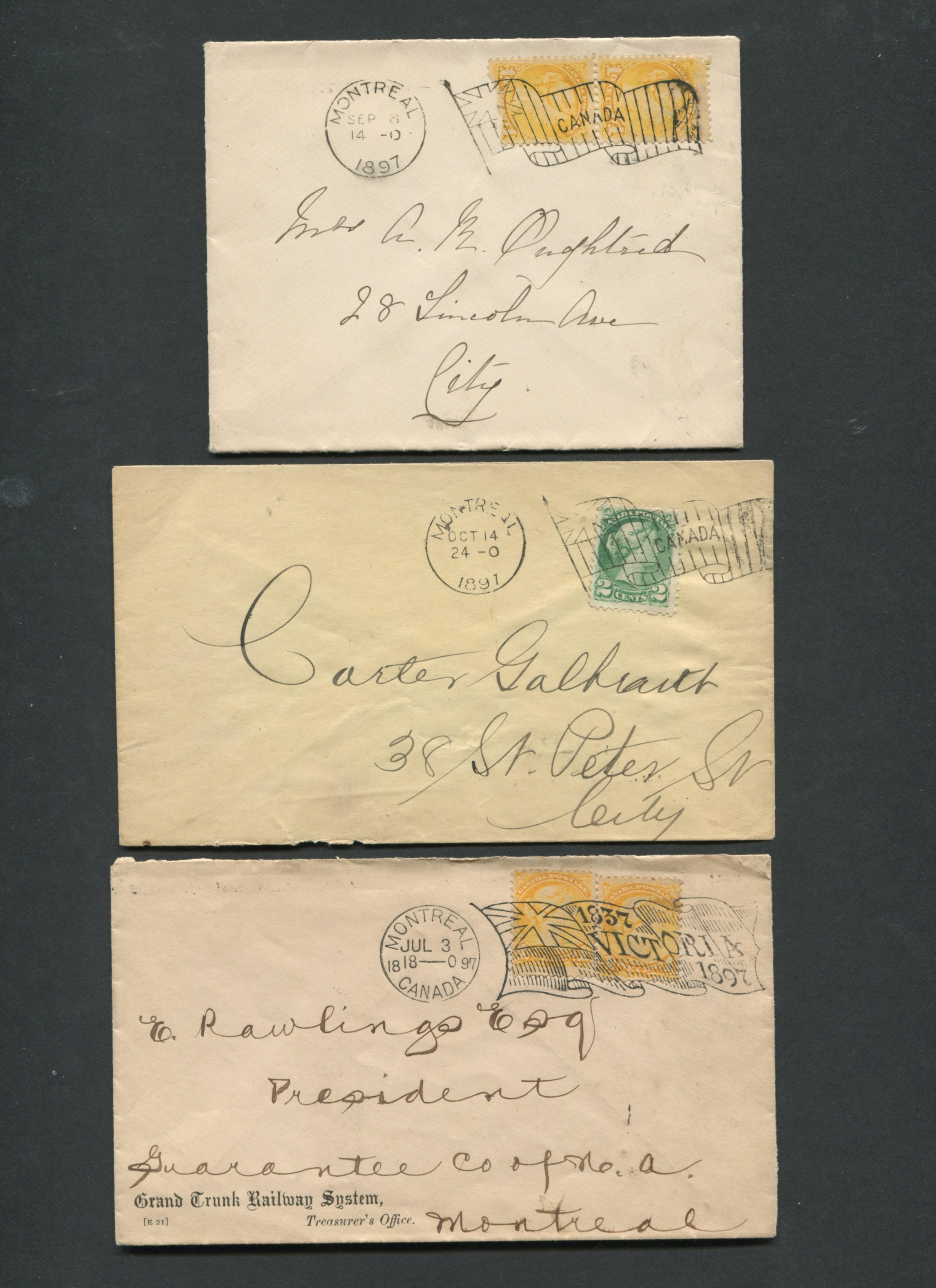 Canada Victoria Stamp Covers 1897 Montreal