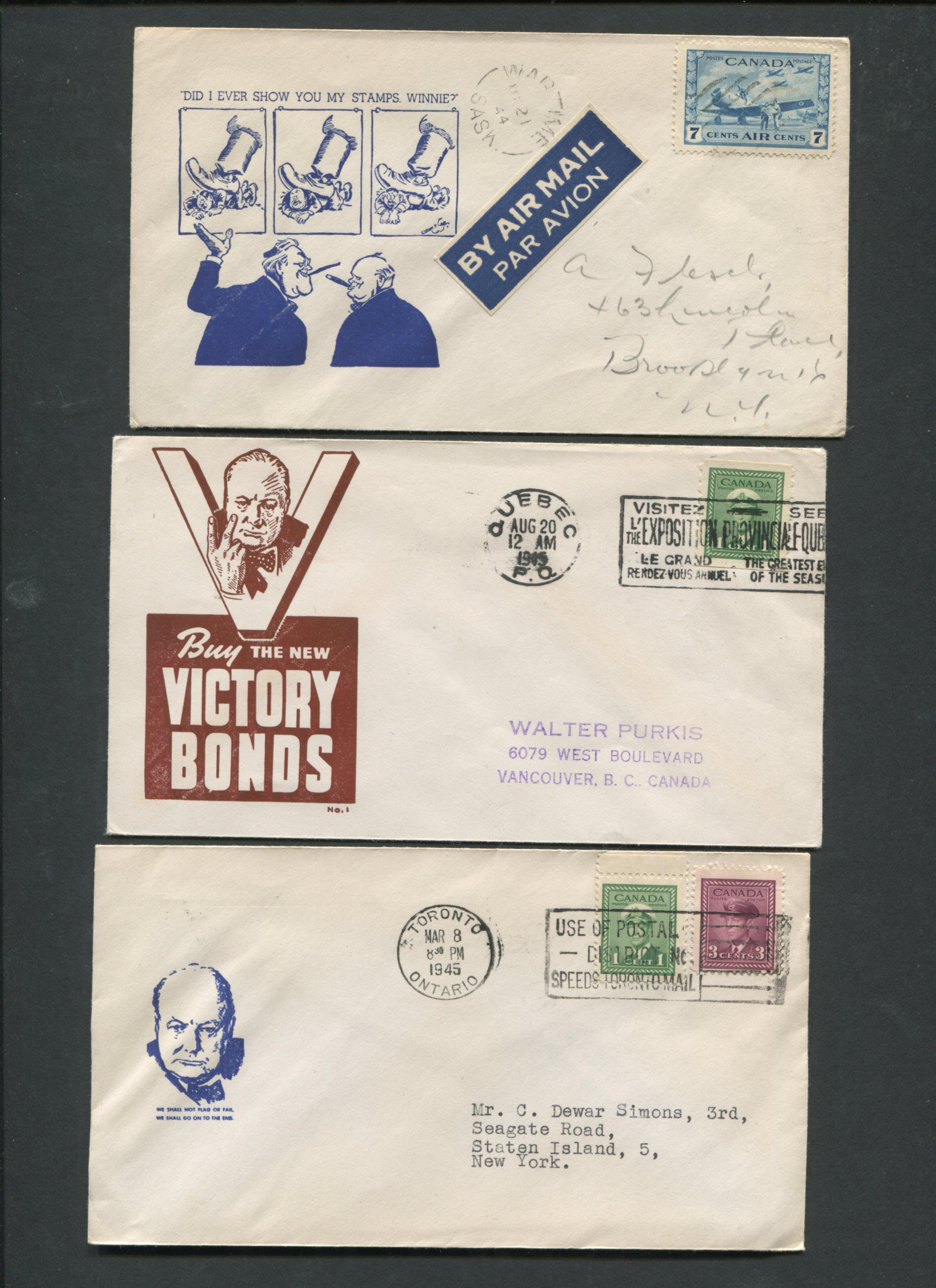 Canada Advertising Stamp Covers Winston Churchill