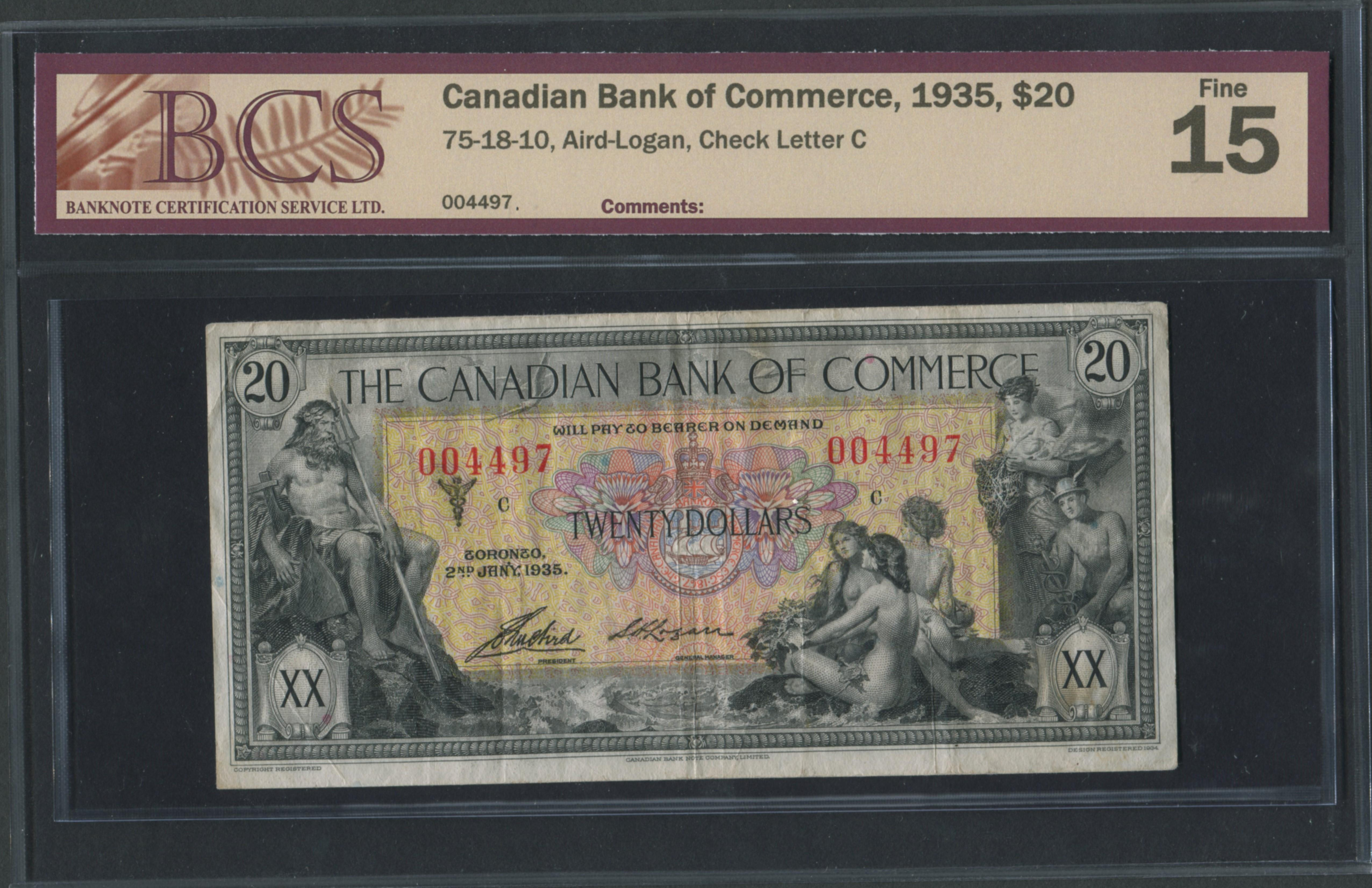 Imperial Bank of Commerce 1935 $20 Banknote F15