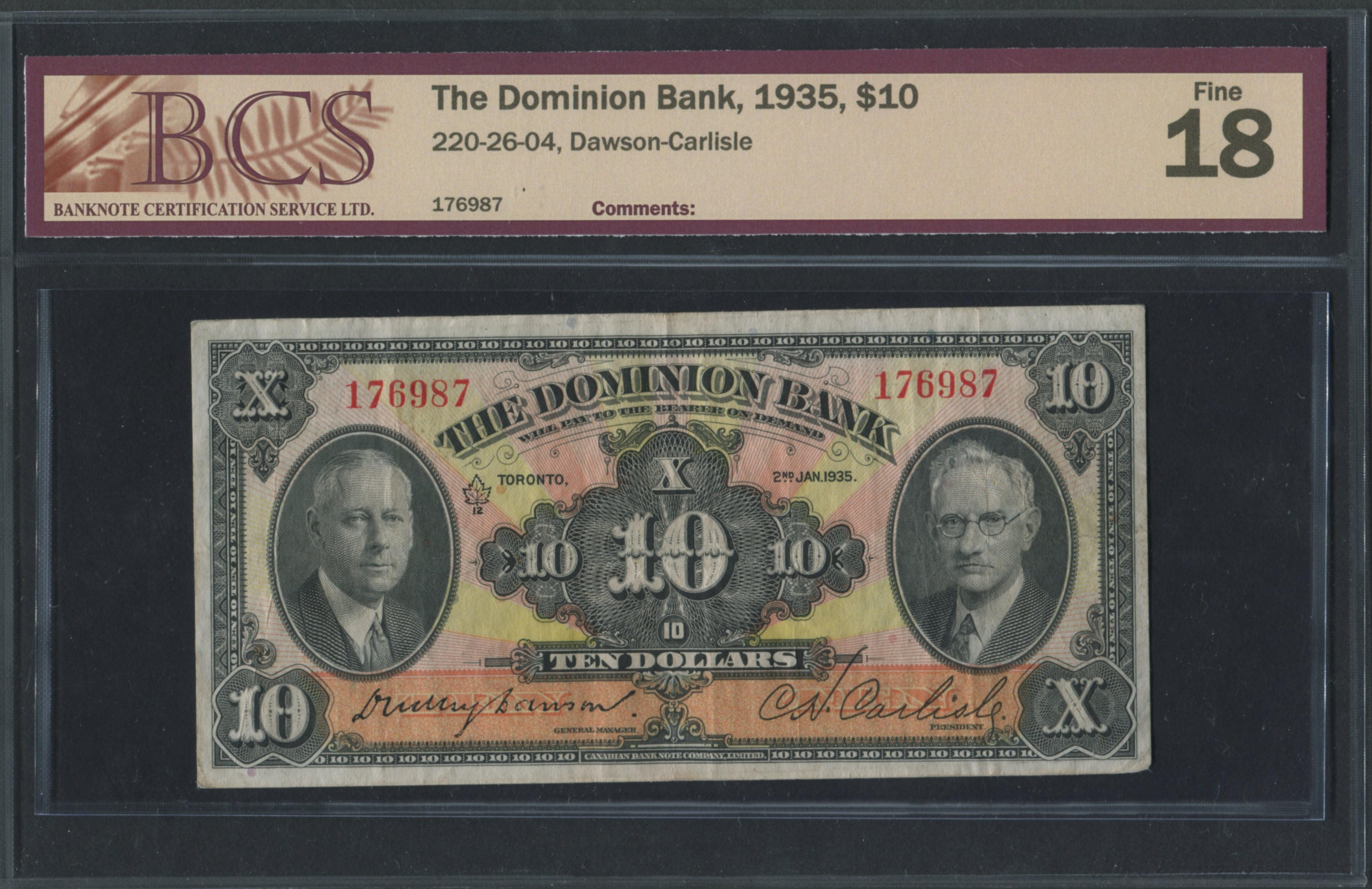 The Dominion Bank 1935 $10 Banknote F18