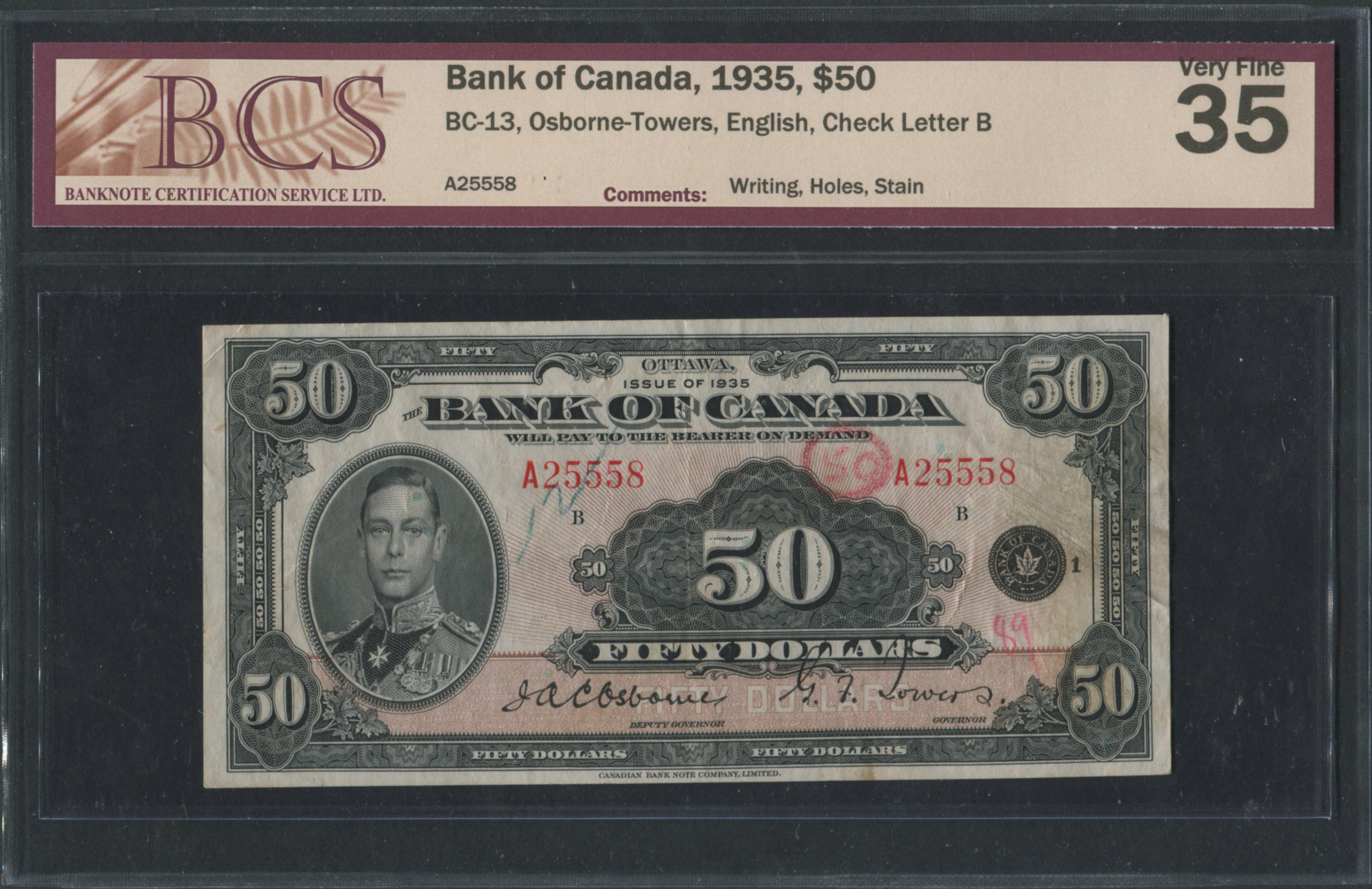 Bank of Canada 1935 $50 Bankote VF35