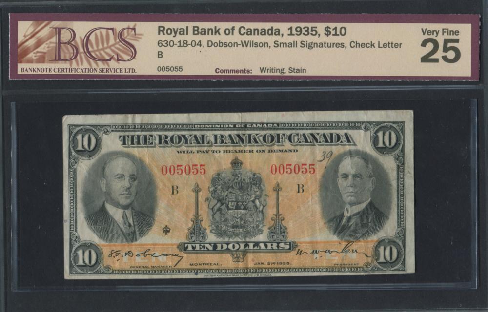 Royal Bank of Canada 1935 $10 Banknote VF25