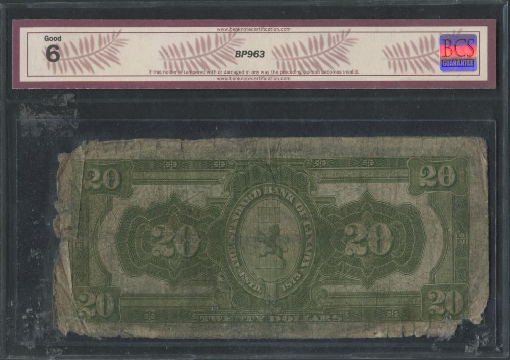 Standard Bank of Canada 1919 $20 Banknote G6