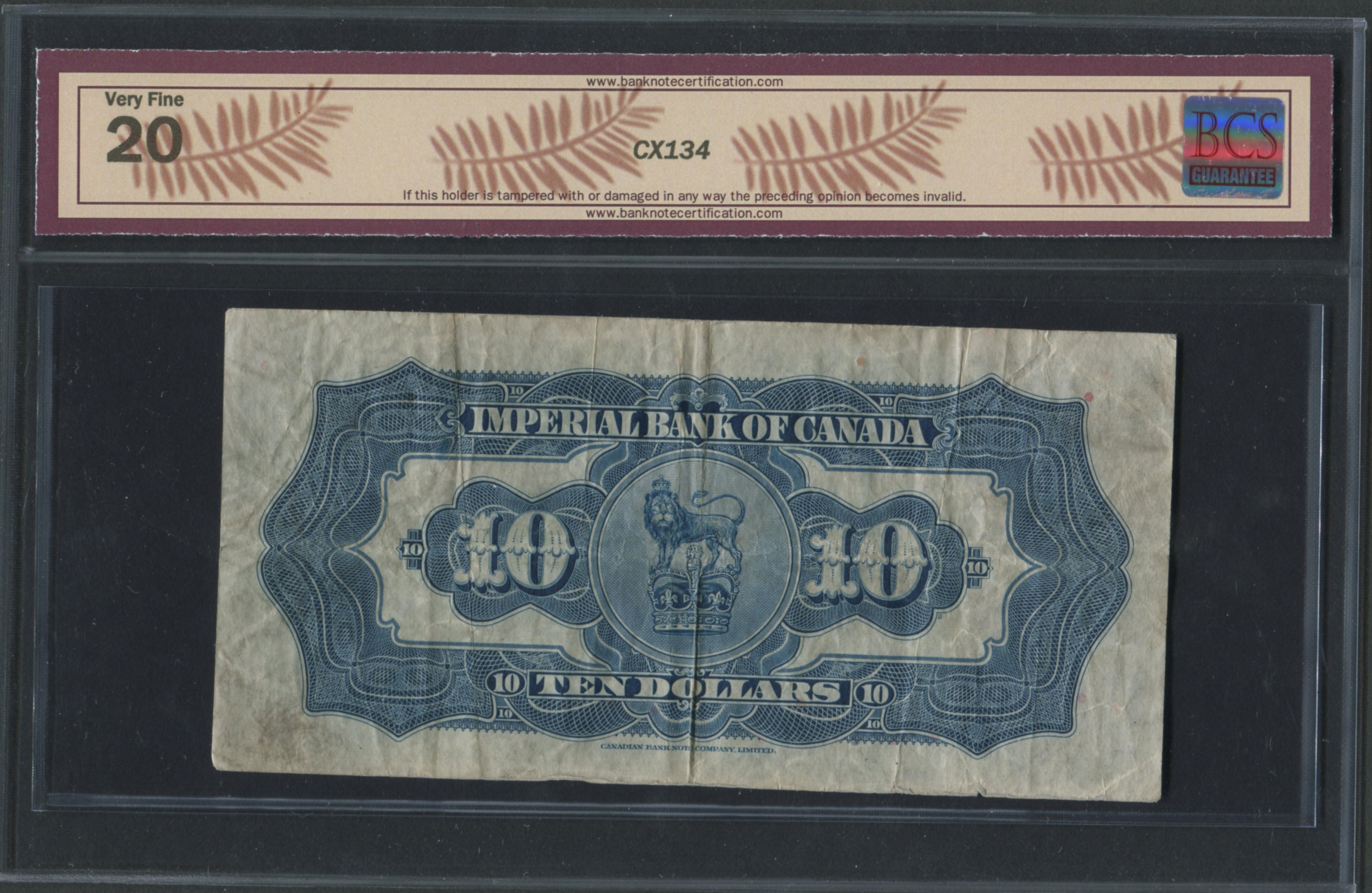 Imperial Bank of Canada 1934 $10 Banknote VF20