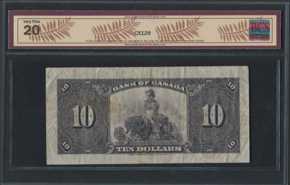 Bank of Canada 1935 $10 Bankote VF20