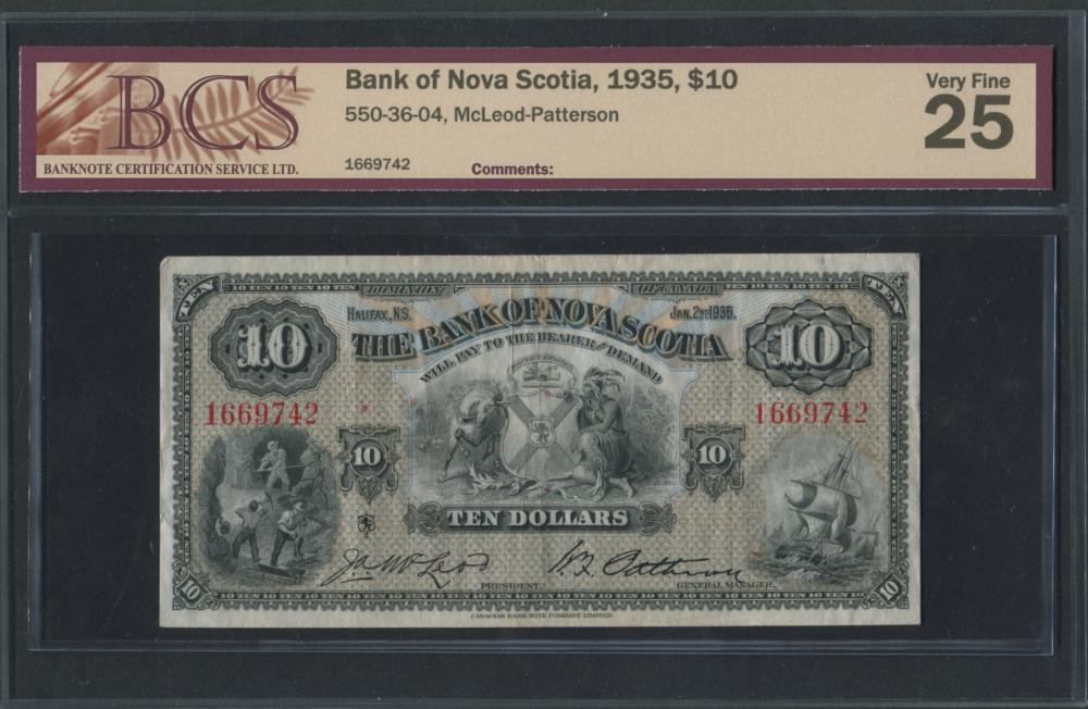 Bank of Nova Scotia 1935 $10 Banknote VF25