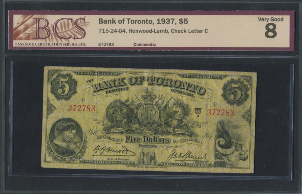 Bank of Toronto 1937 $5 Banknote VG8