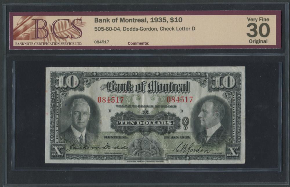 Bank of Montreal 1935 $10 Banknote VF30