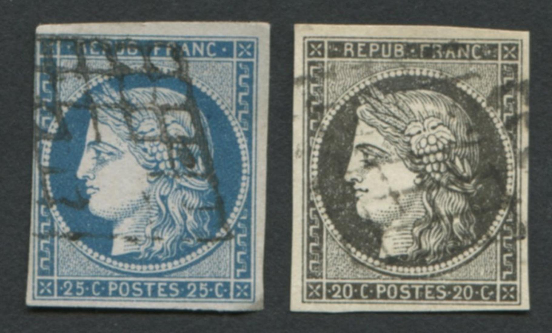 France 1849-50 #3 A1b 20c Black Buff, #6 A1 25c