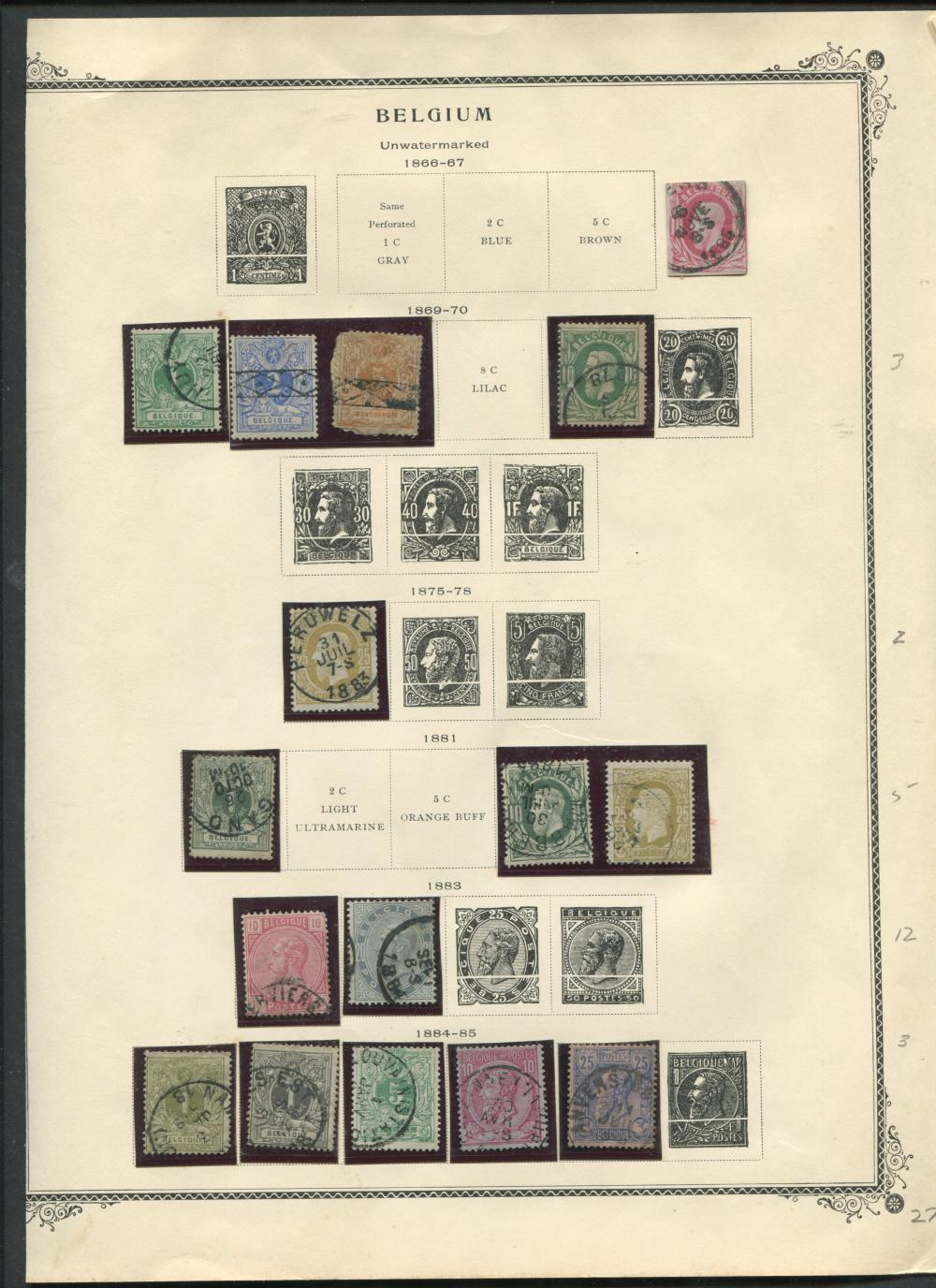 Belgium 1861-1907 Stamp Collection