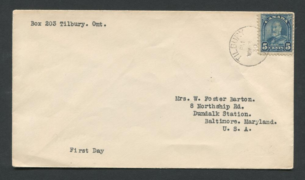 Canada 1930 First Day Cover #170 5c Dull Blue