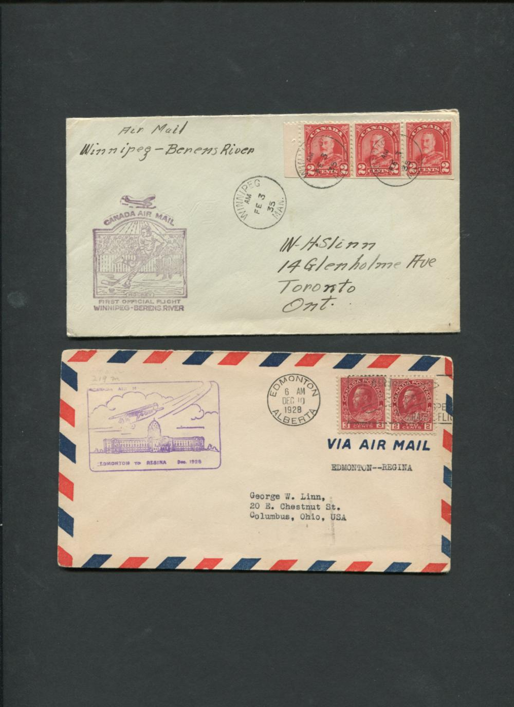 Canada First Flight Covers Collection 1927-28, '35, '42