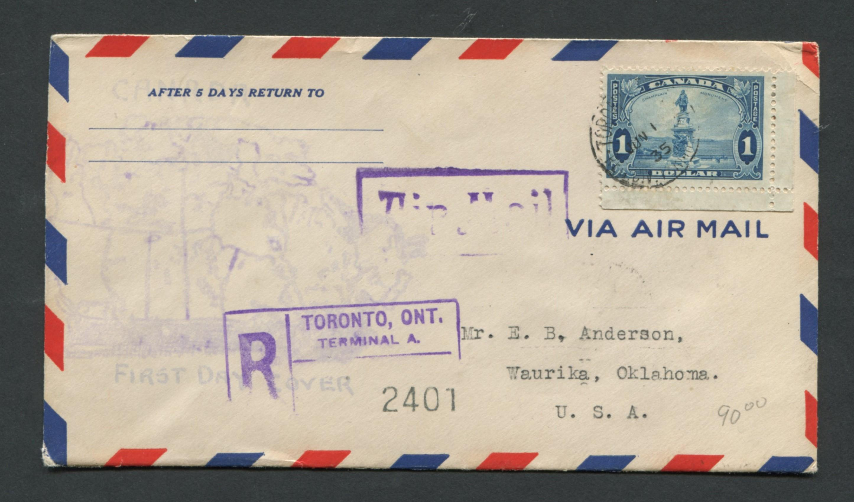 Canada 1935 First Day Cover #227 $1 Blue