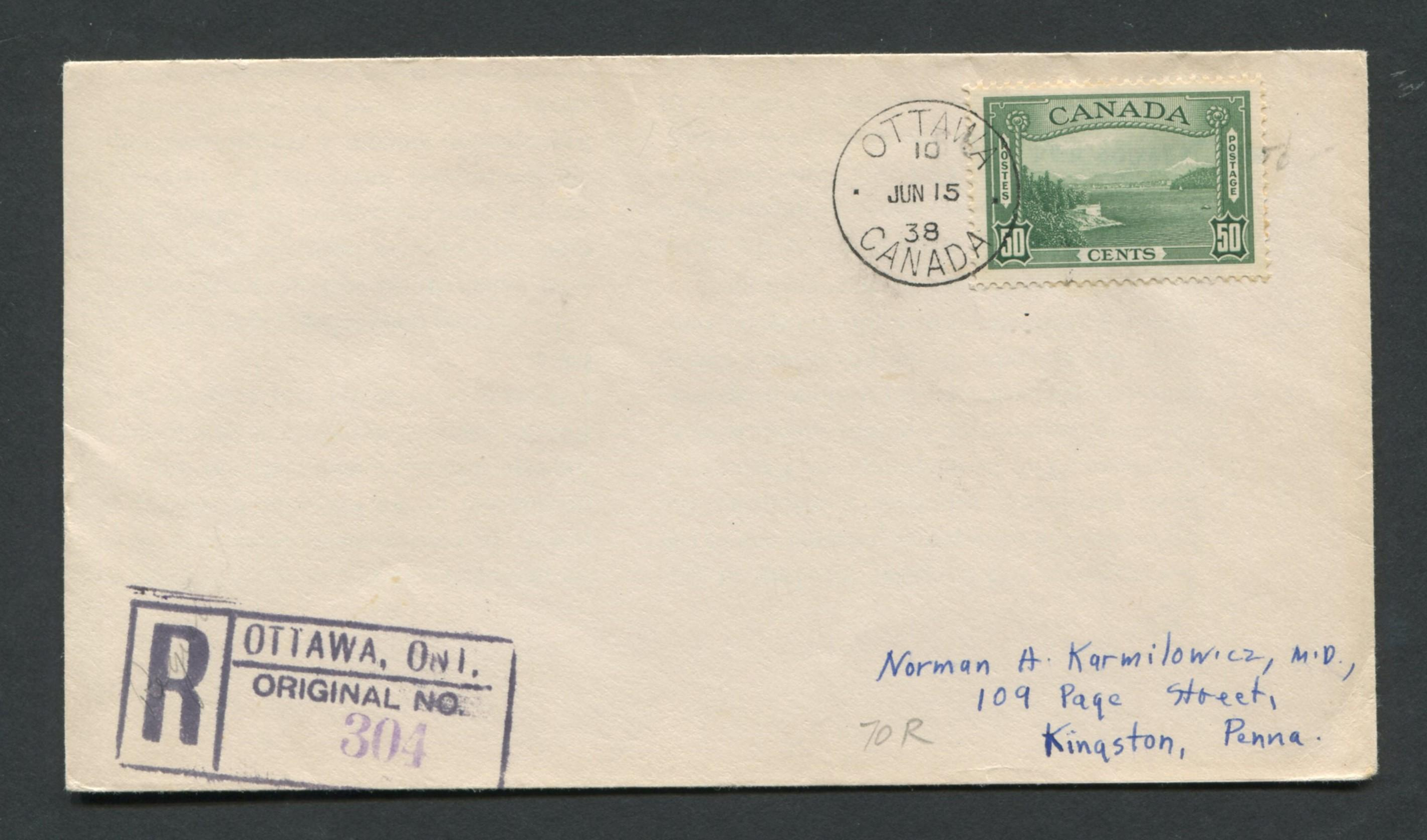 Canada 1938 First Day Cover #244 50c Green