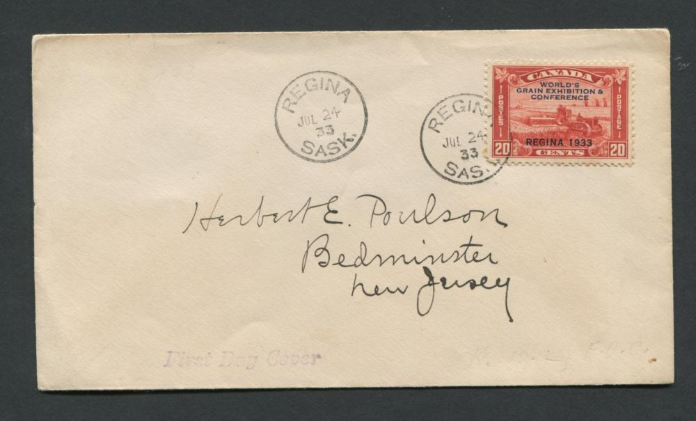 Canada 1933 First Day Cover #203 20c Brown Red