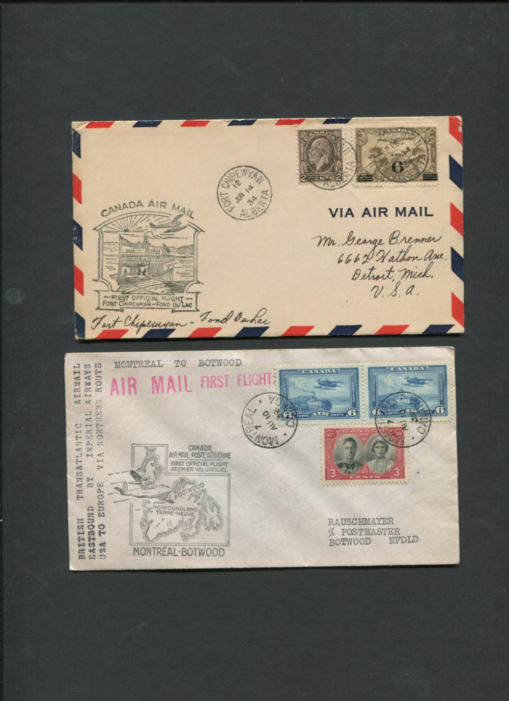 Canada First Flight Covers Collection 1934, 1939