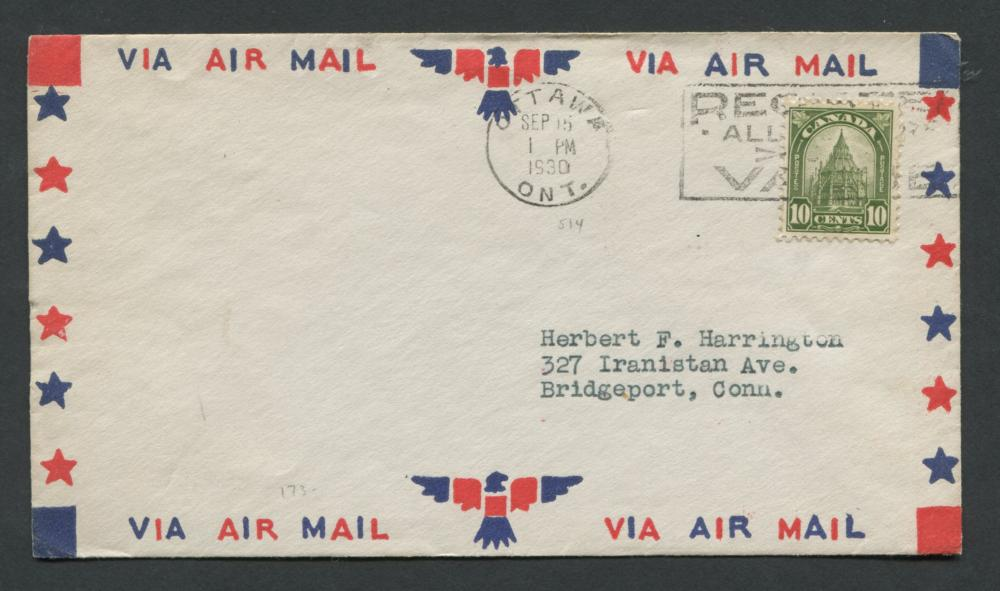 Canada 1930 First Day Cover #173 10c Olive Green