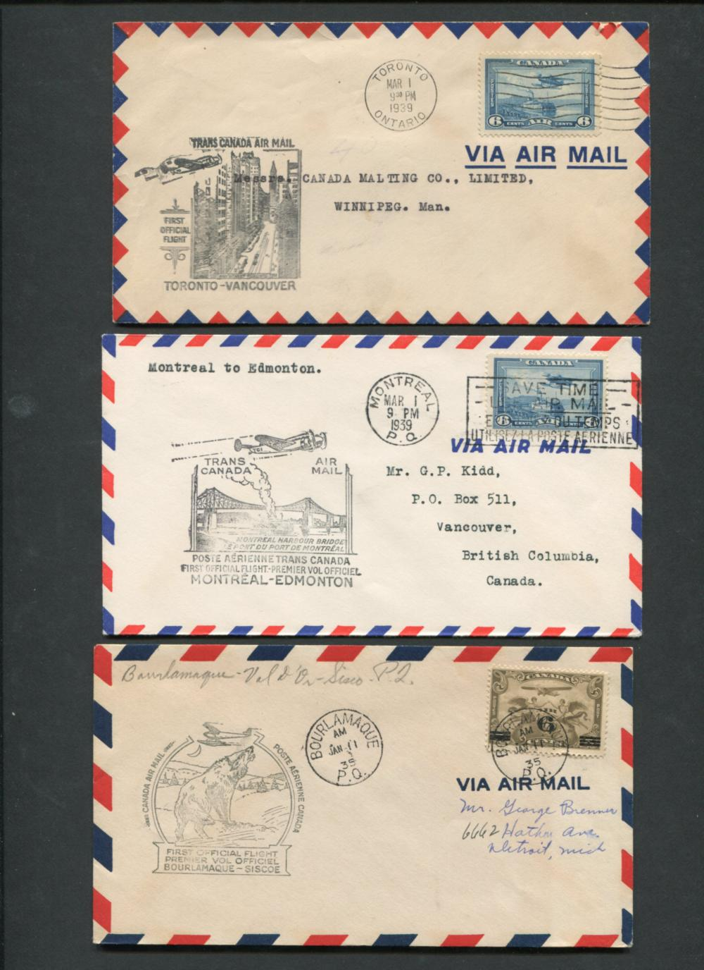 Canada First Flight Covers Collection 1934-46
