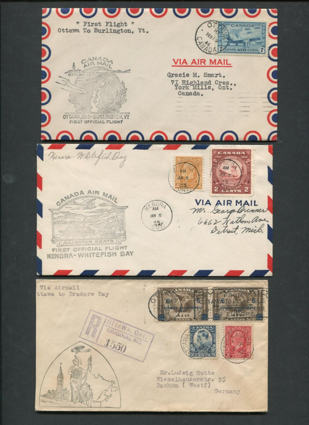 Canada First Flight Covers Collection 1932, 1935