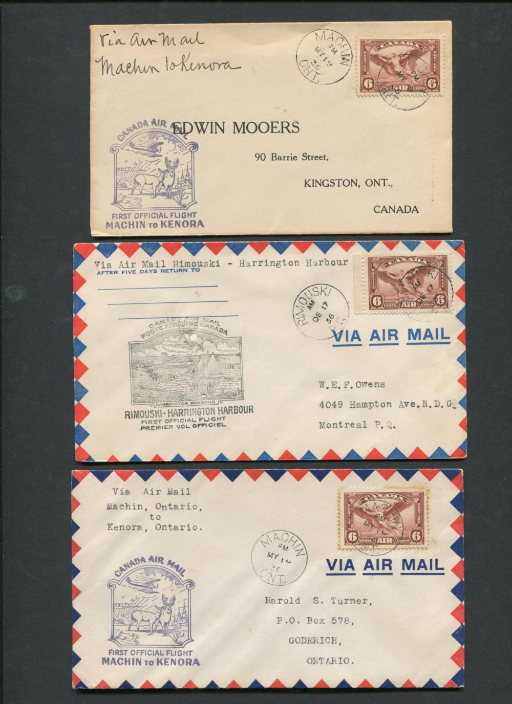 Canada First Flight Covers Collection 1935-36