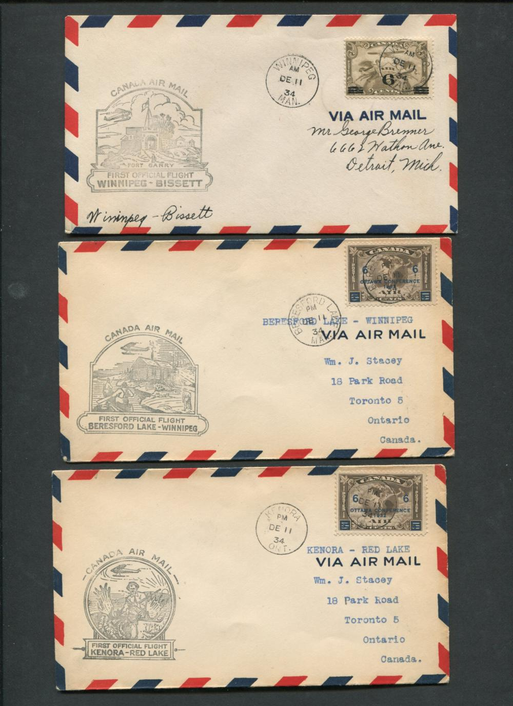 Canada First Flight Covers Collection 1934