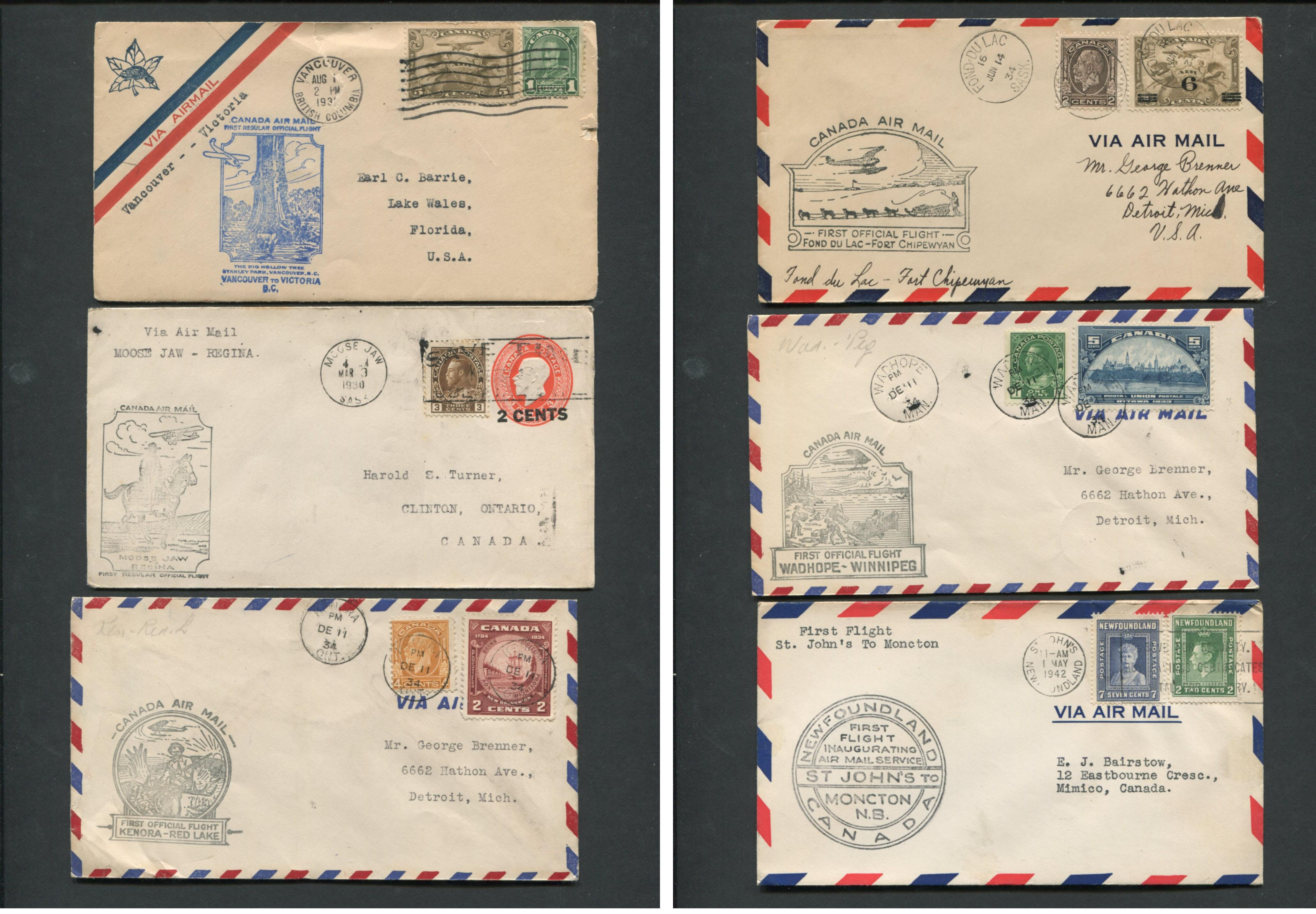 Canada First Flight Covers Collection 1930-42