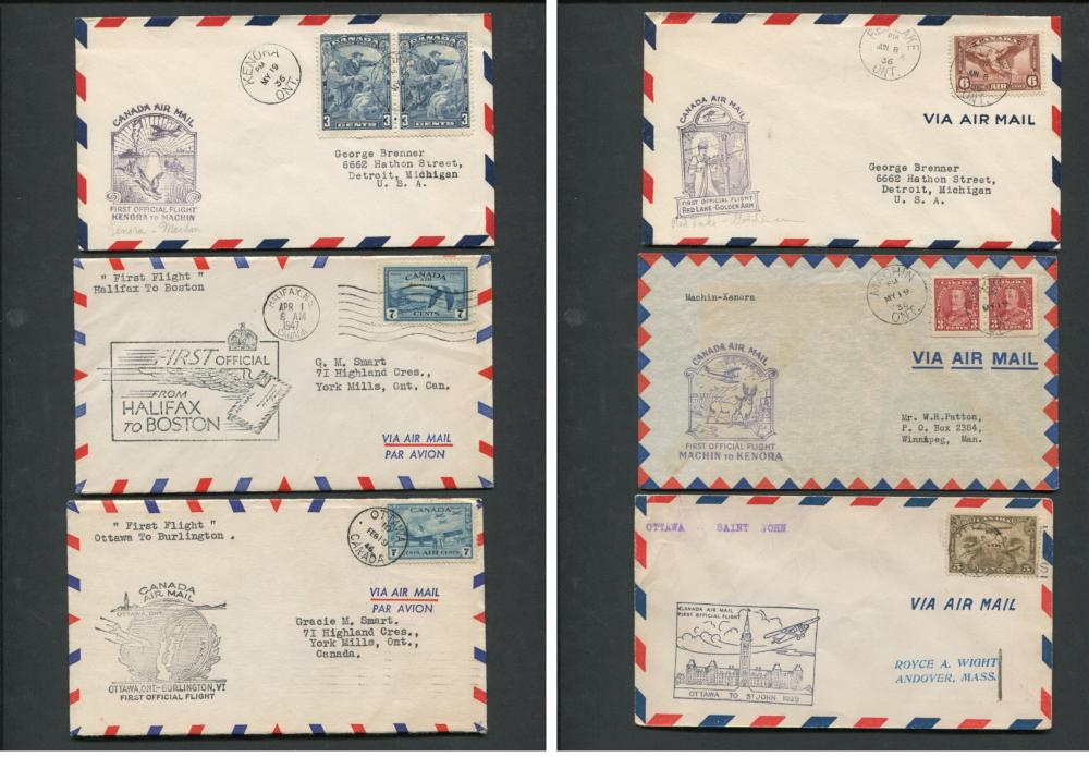 Canada First Flight Covers Collection 1936, 1947