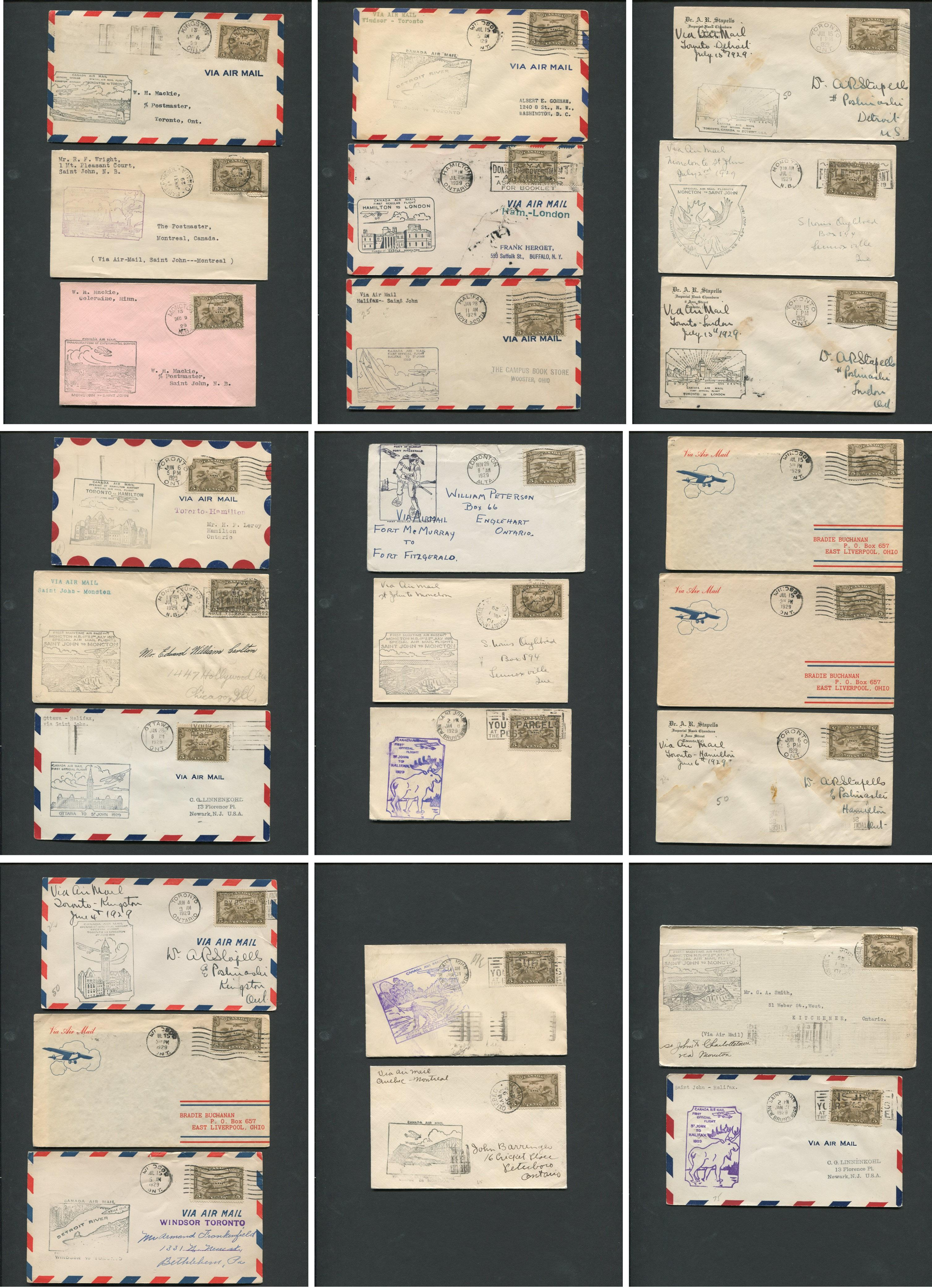 Canada First Flight Covers Collection 1929