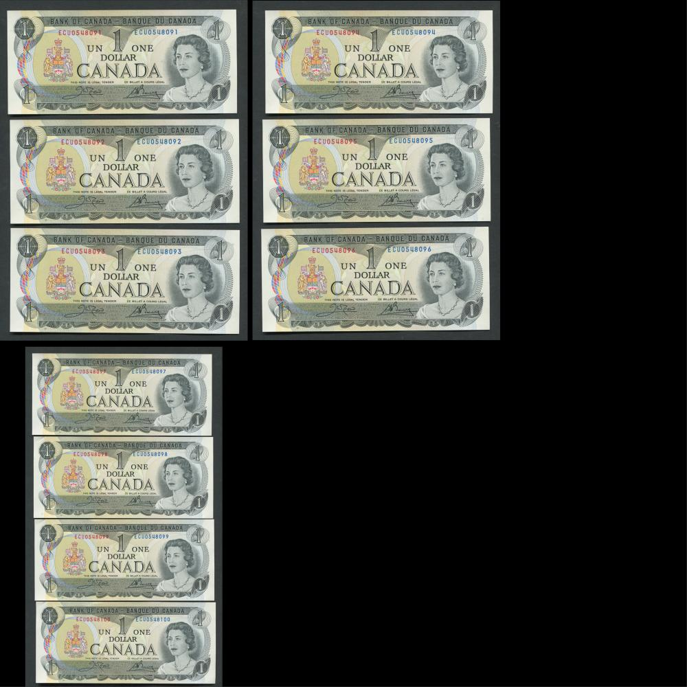 Canada 1973 100- $1 Sequential Banknotes