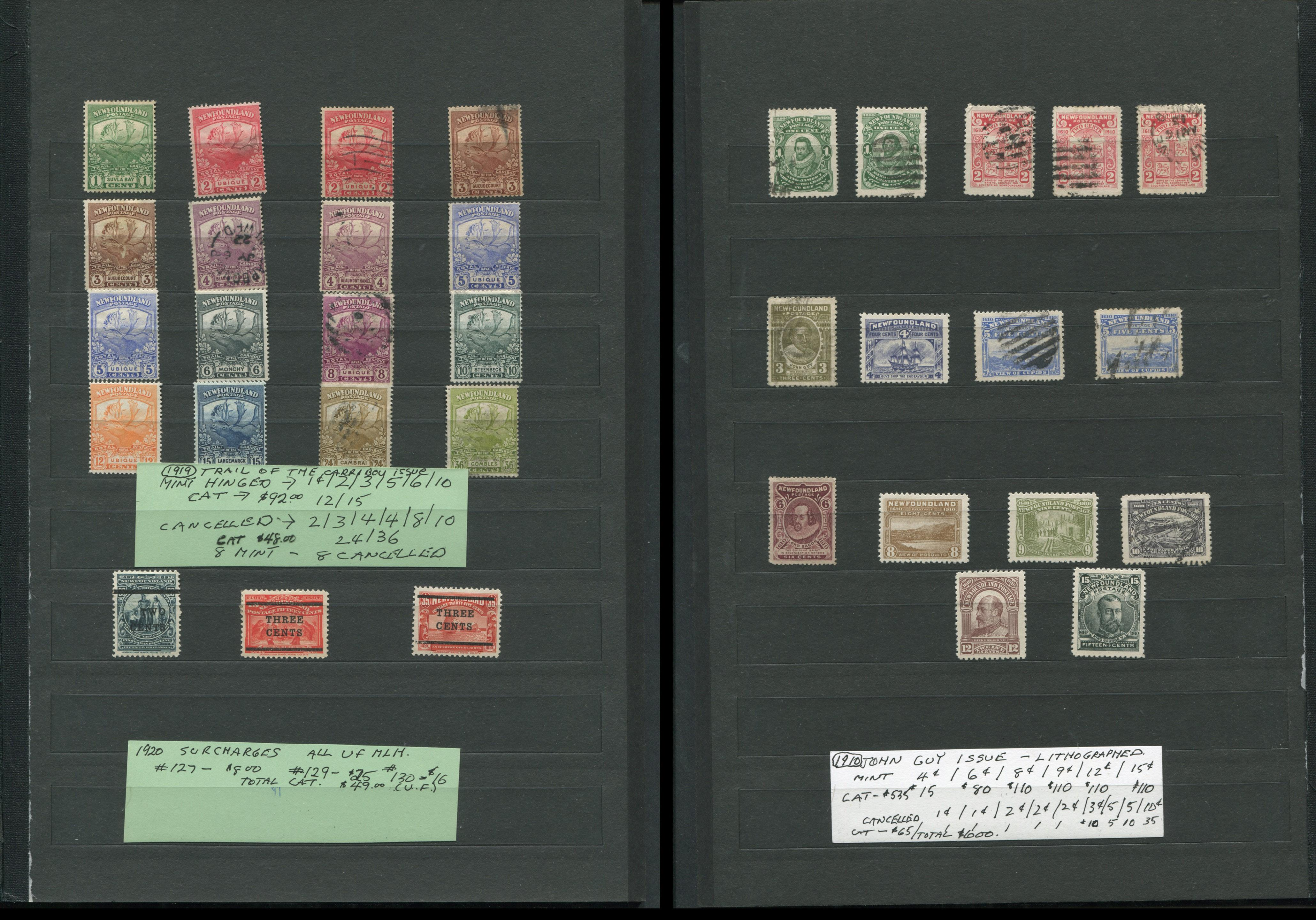 Canada Newfoundland Stamp Collection (34 Stamps) 1910, 1919, 1920