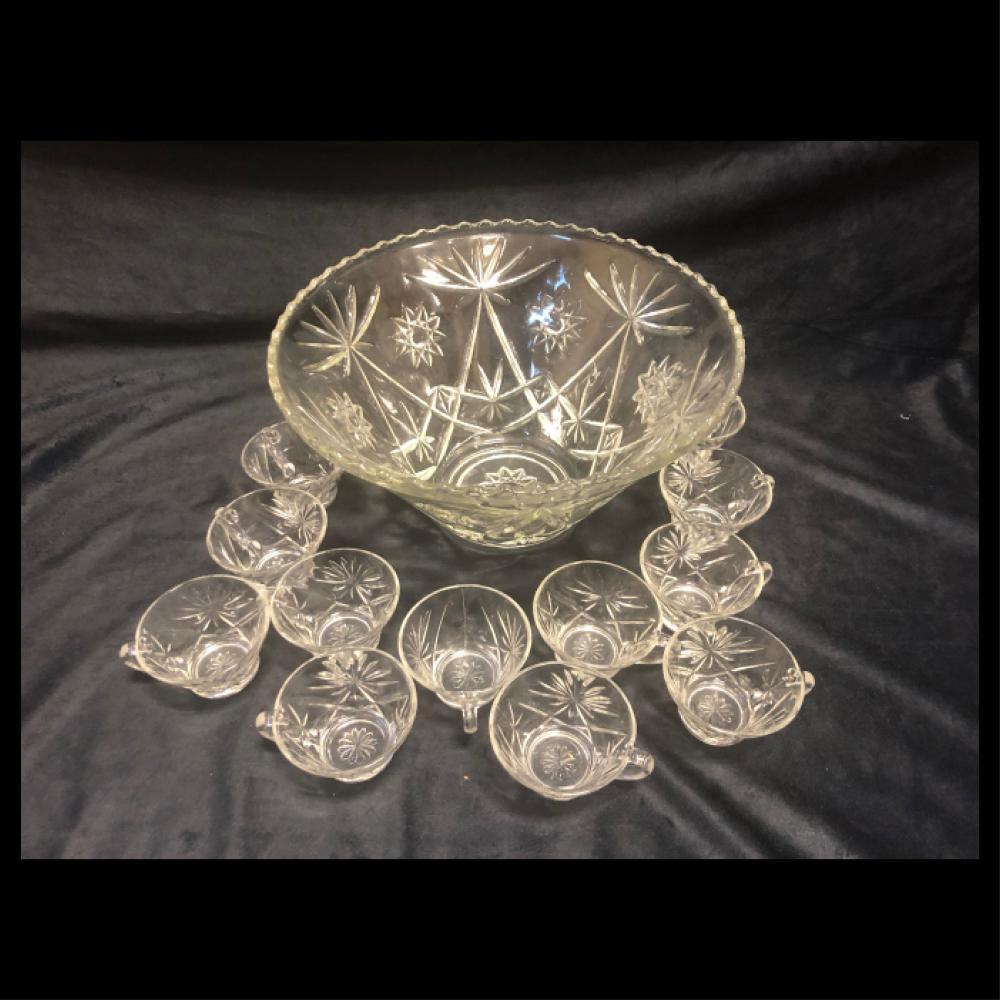 Crystal Punch Bowl and glasses