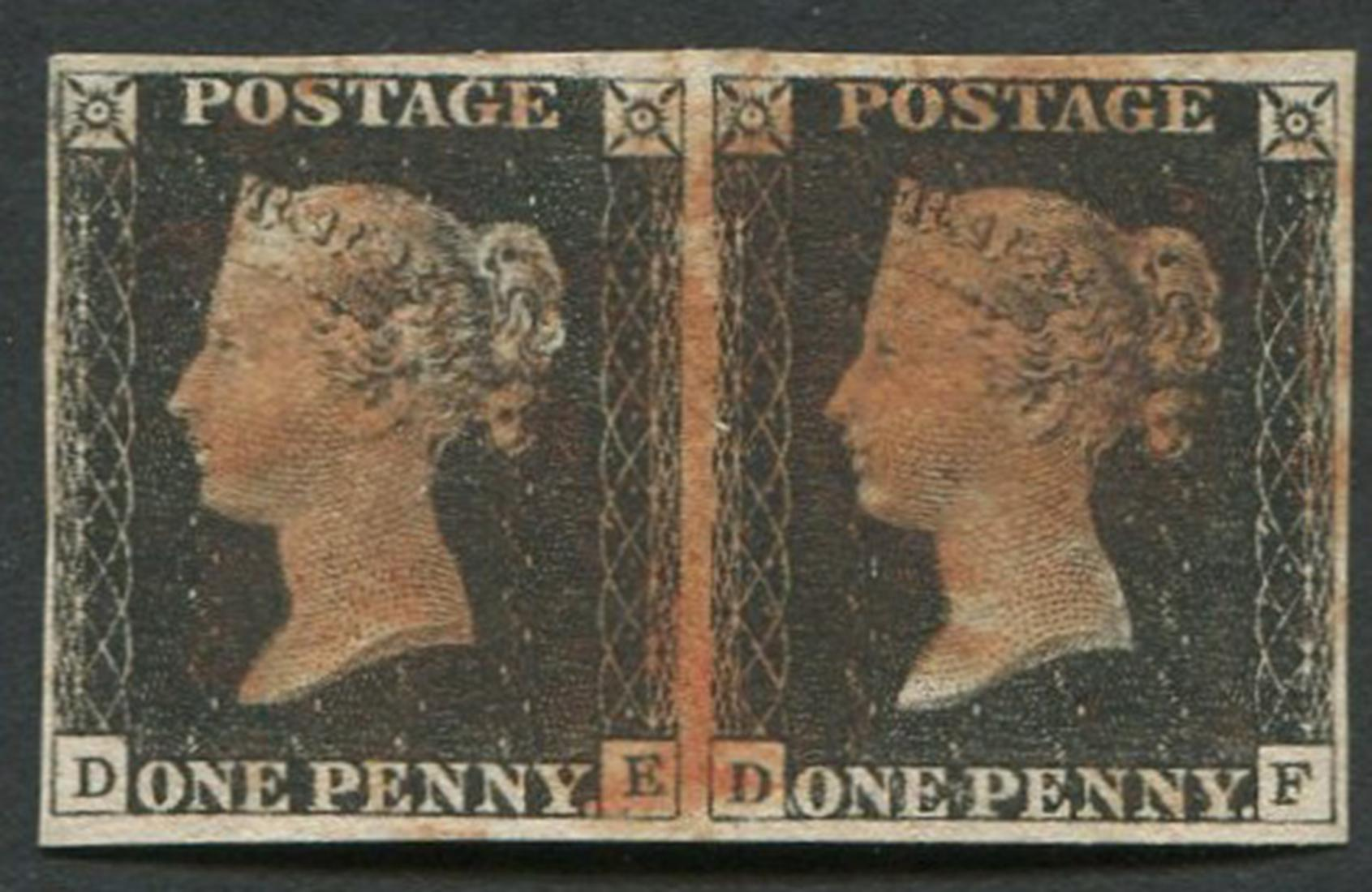 Great Britain One Penny #1 Imperf Pair VF