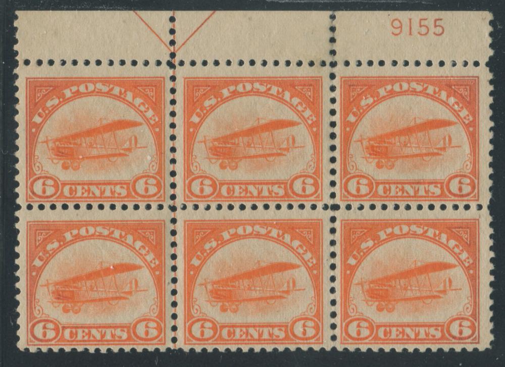 USA 1918 #C1 6c Orange Block of 6 F MNH