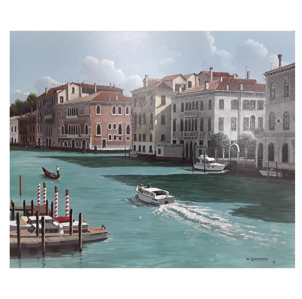 "Bill Saunders' ""Venice Canal"" Original Acrylic on Masonite Painting"