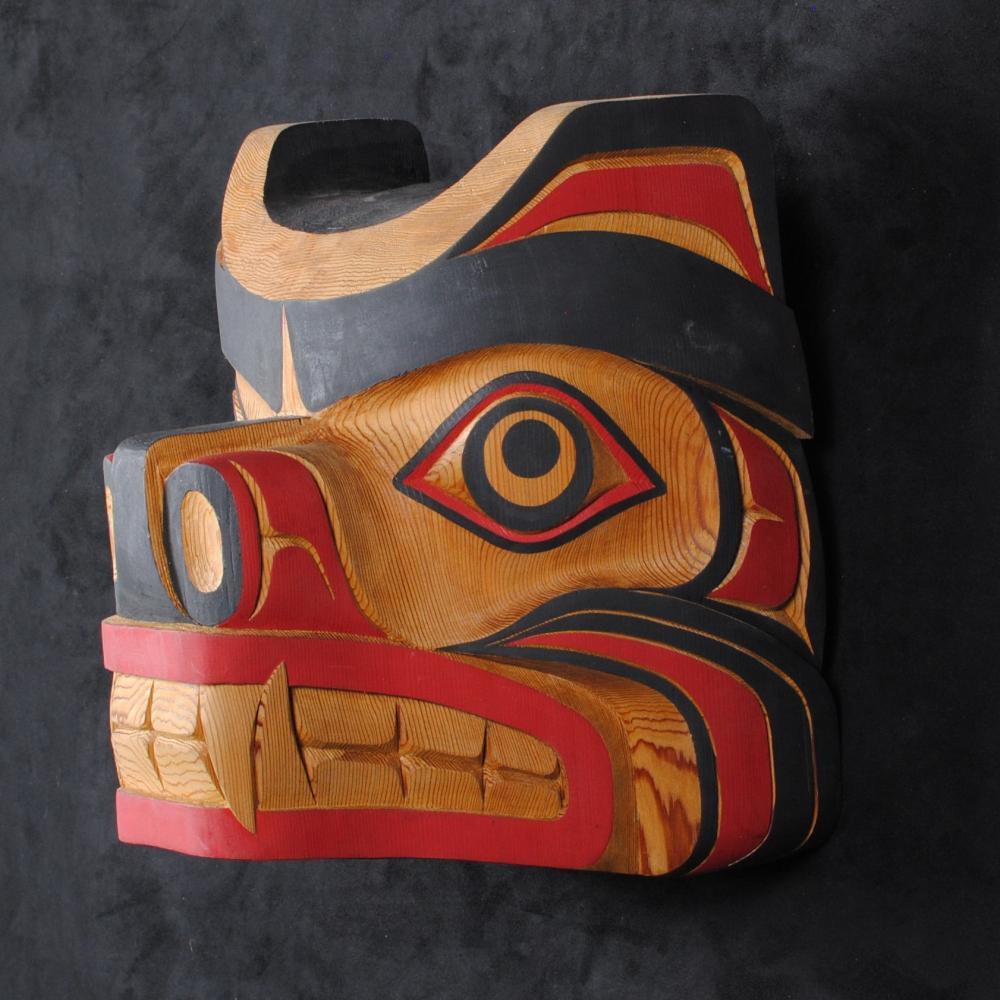 """Morris Johnny's """"Bear"""" Original Wooden Carved Mask"""