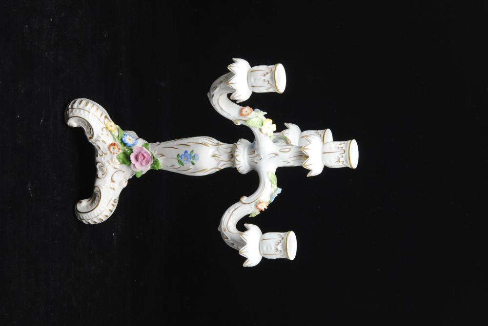 Dresden Candelabra Hand Painted 4 Candle with Flowers