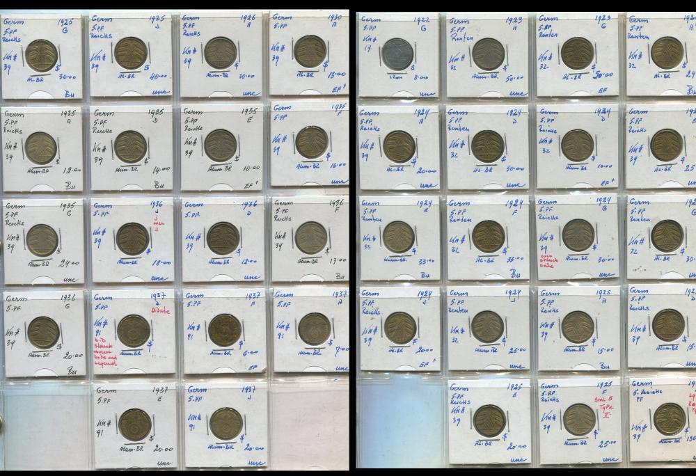 Germany - 5 Pfennig Coin Collection