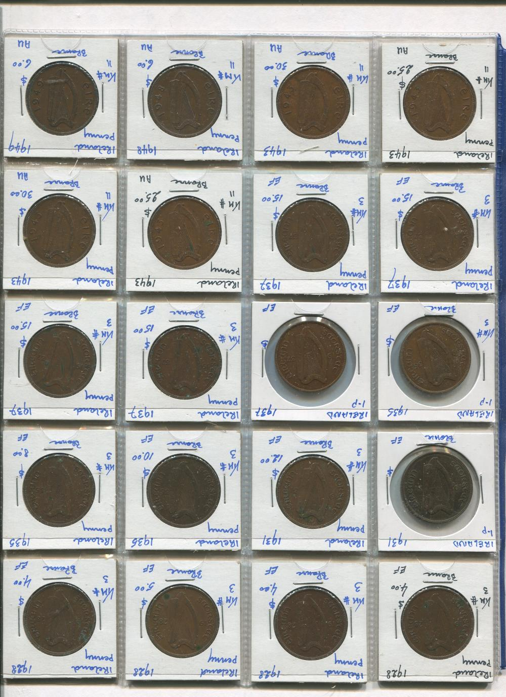 Ireland 1928-49 1 Penny Coin Collection