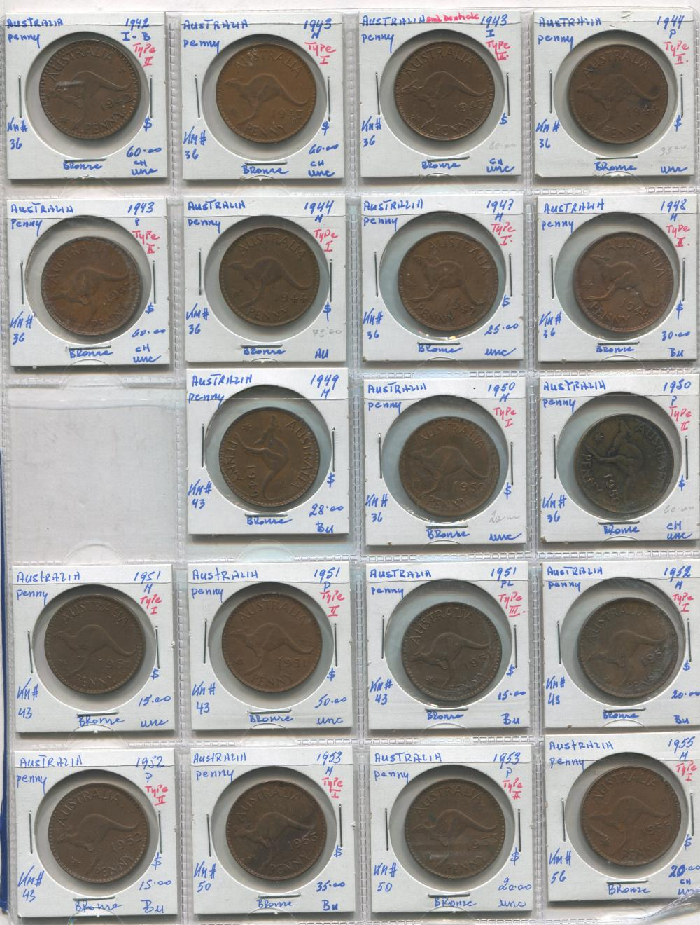 Australia 1942-55 1 Penny Coin Collection