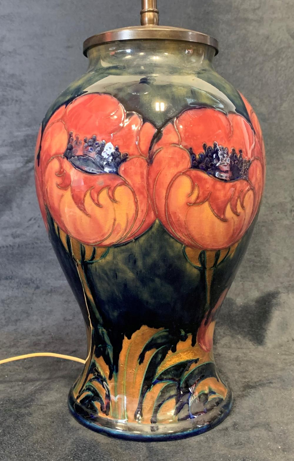 "Moorcroft ""Big Poppy"" Vase Lamp"
