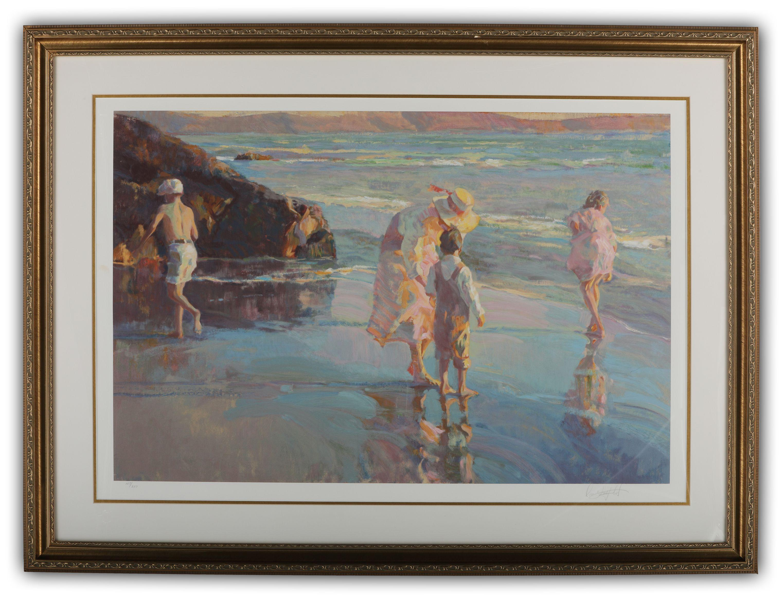 """""""Women and Children on the Beach"""" Limited Edition Print"""