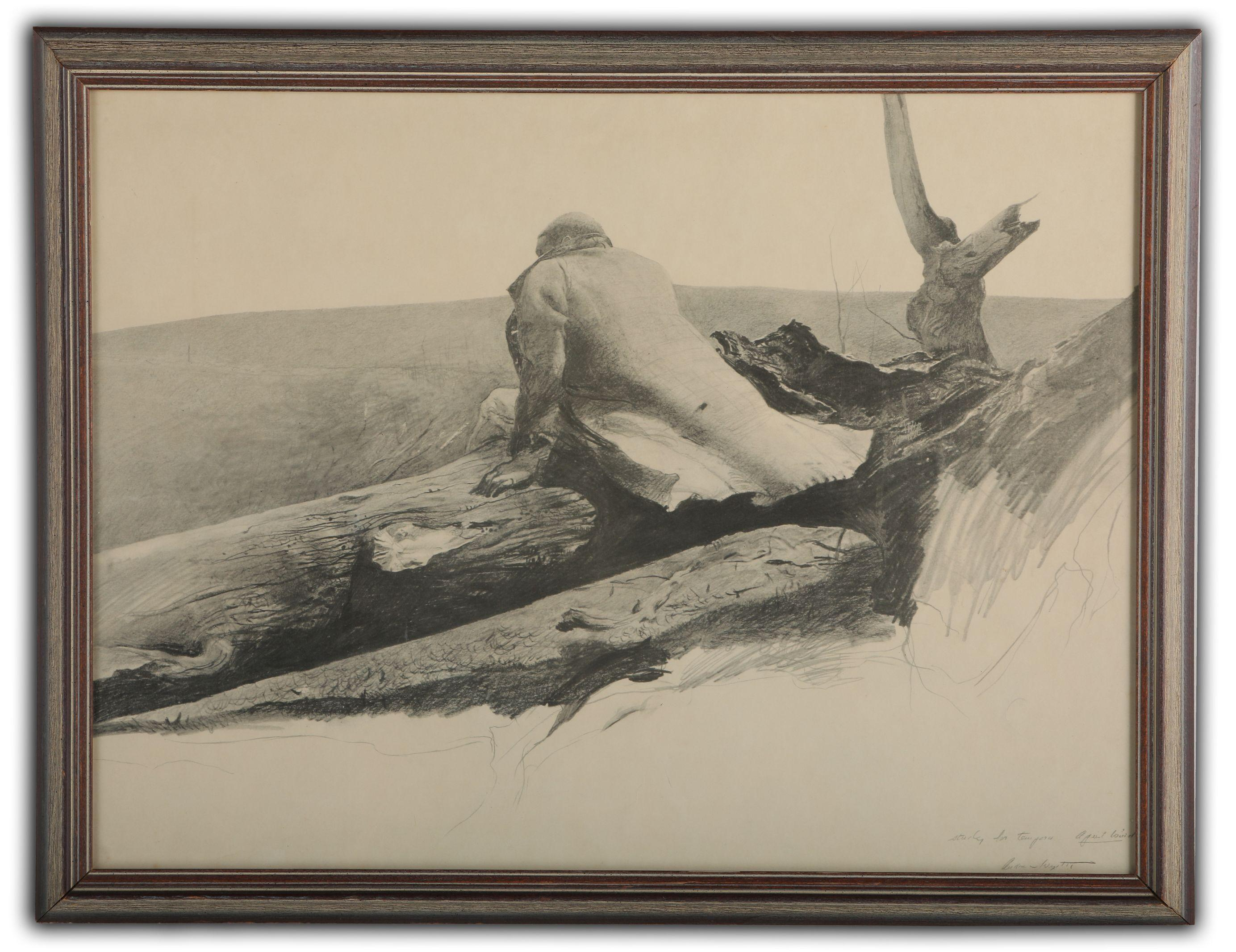 Andrew Wyeth Black and White Pencil Sketch