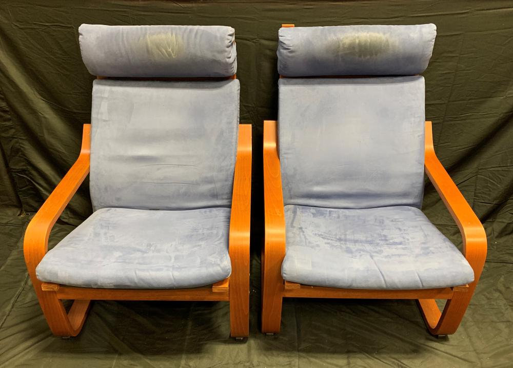 Set of Vintage Ikea Poang Chairs & Foot Rests