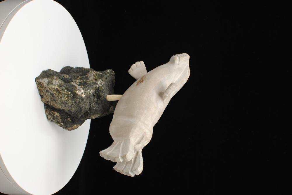 """Ernie Porter's """"Seal on Base"""" Original Inuit Carving"""
