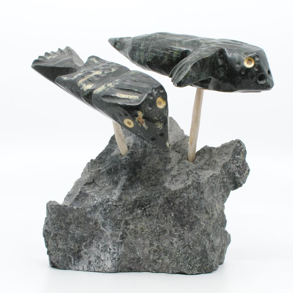 """Ernie Porter's """"Falcons"""" Original Inuit Carving"""
