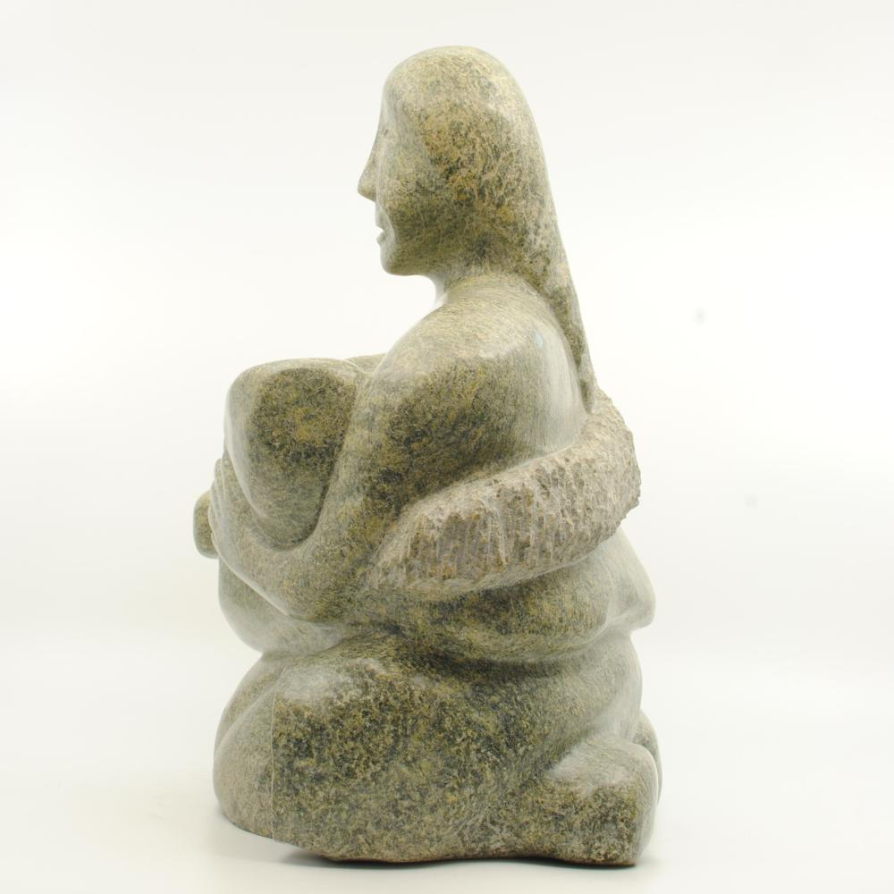 """Elijah Michael's """"Mother and Child"""" Org. Inuit Carving"""