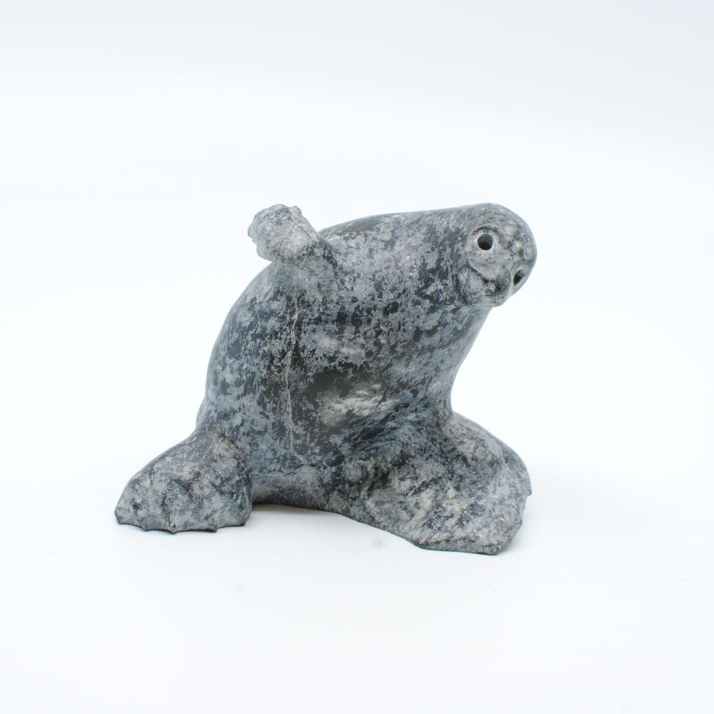 """Lucas Aaluk's """"Seal Dancing"""" Original Inuit Carving"""