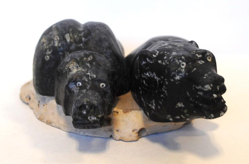"""Andrew Porter's """"2 Bears on Base"""" Original Inuit Carving"""